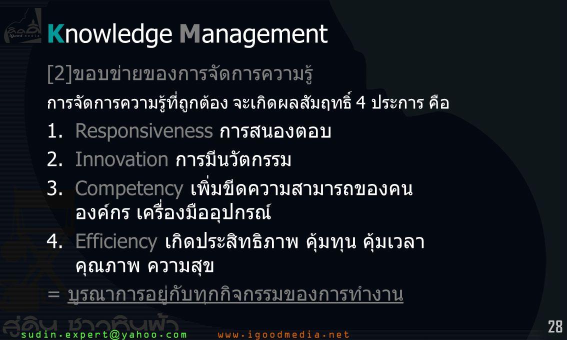 Knowledge Management [2]ขอบข่ายของการจัดการความรู้